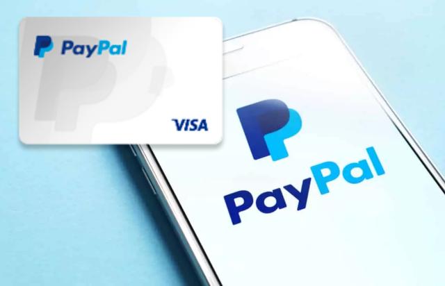 um celular com o aplicativo PayPal e cartao pre pago PayPal